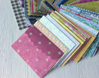 Mini handmade scallop envelopes, printed paper envelopes,  thank you note envelopes, pack of 10