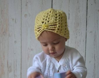 Crochet Baby Girl Turban Hat, Baby Girl Crocheted Hat, Baby Girl Hat, Cotton Baby Hat