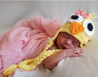 Baby Chick Hat, Crochet Baby Animal Hat, Newborn Baby Hat, Crochet Baby Hat, Baby Animal Beanie, Crochet Baby Bird Hat