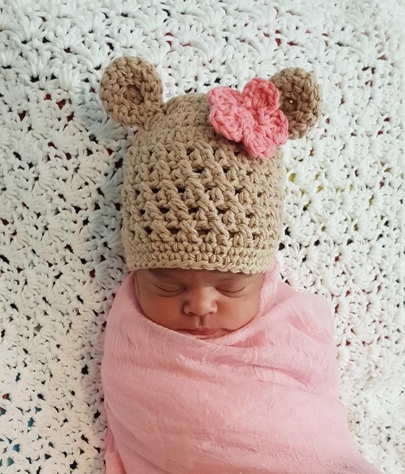 8b84a2e509a Crochet Baby Bear Hat Cotton Baby Hat Baby Bear Beanie Baby