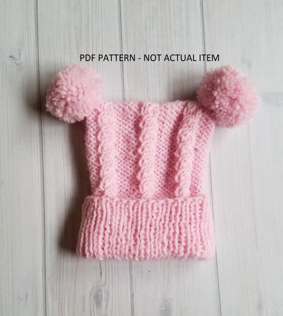 Knit Baby Hat Pattern Baby Cable Hat Pattern Etsy