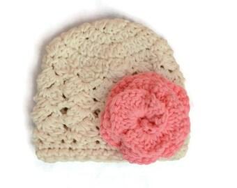 Crochet Baby Girl Hat, Baby Girl Flower Hat, Newborn Baby Girl Clothes
