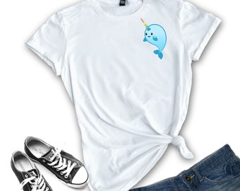 d9d363c21c Narwhal T Shirt / Shirts for Teens / Pocket Tee / Narwhal Cute /  Gift-for-her / Kawaii Shirt / Tumblr Shirt / Cute Whale / Narwhal Whale