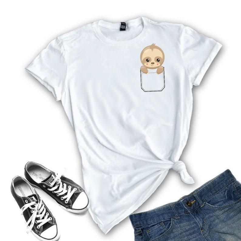 98891d57 Sloth Shirt / Cute Sloth Gift / Shirts for Teens / Pocket Tee | Etsy