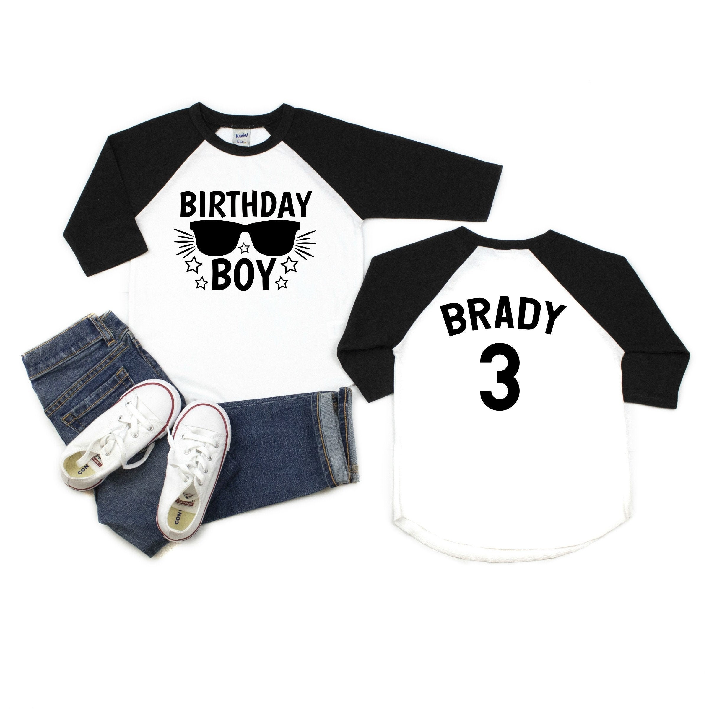 Any Age Birthday Shirt For Boys Baseball Style T-shirt With Birthday Boy And Sunglasses On The Front And Name And Age Printed On The Back Unisex Tshirt