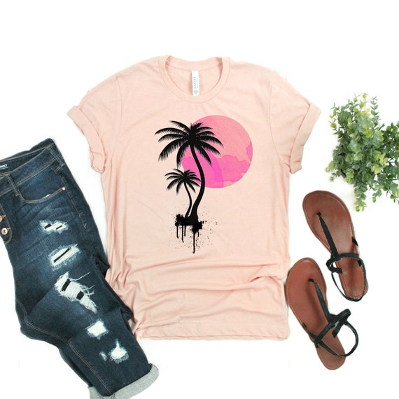 Beach Shirts for Women with a Pink Sunset and Black Silhouette Palm Trees Printed on a Heather Peach T Shirt, Swimsuit Coverup Cruise Shirt