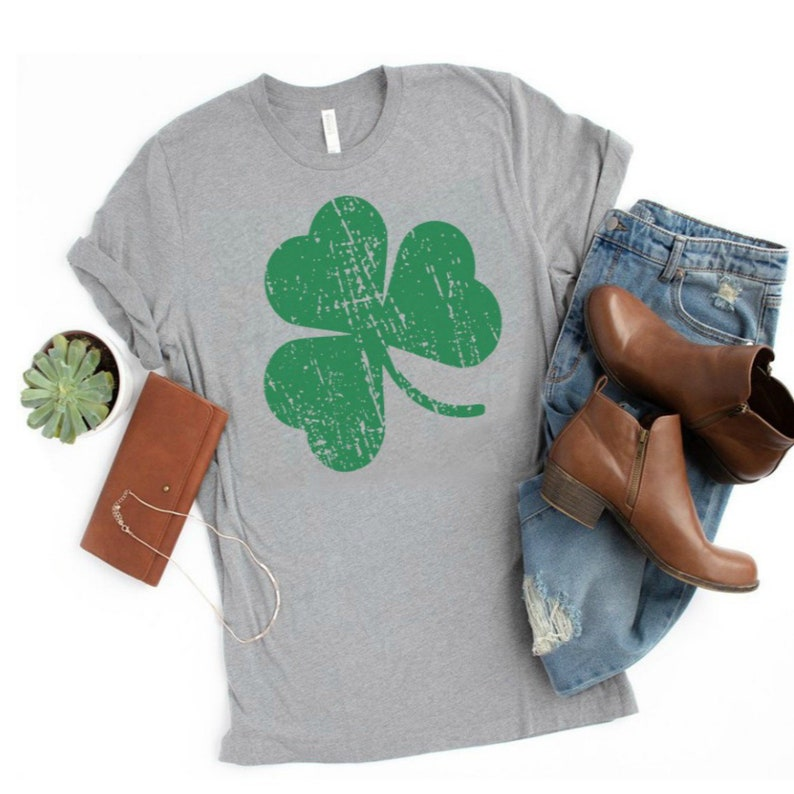 ba6c23e8f61d5 Heather Grey St Patricks Day Shirt for Women with Green