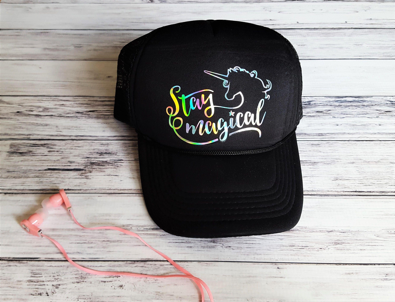41c7b7b0 Unicorn Trucker Hat Stay Magical Black Hat Rainbow Unicorn | Etsy