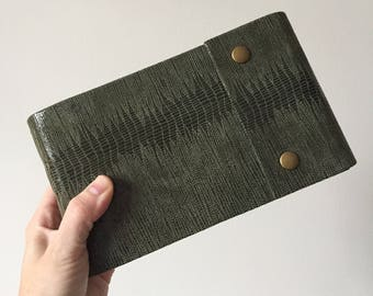 Sketchbook in Printed Green Leather, Olive Thread, Snap Closures and Hot Press Watercolour Paper