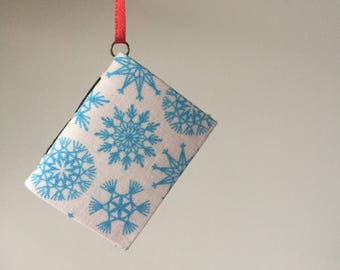 Mini Book Christmas Ornament with Blue and White Snowflakes
