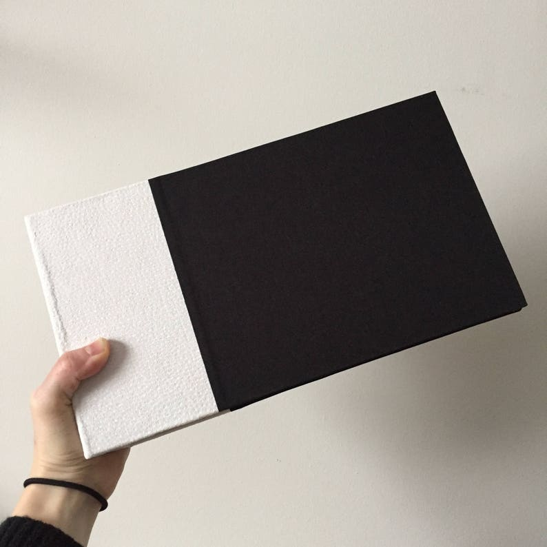 Ivory Suede and Black Cloth Instax Mini Album  Fits 100 150 or 200 photos
