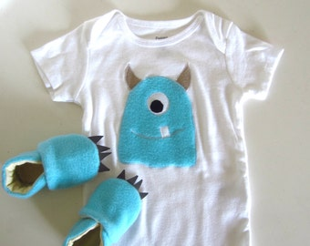 Baby Blue Fuzzy Monster Baby Shower Gift Set