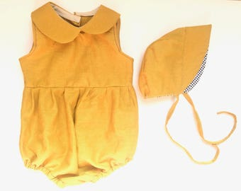 Baby Girl Romper Baby Shower Baby Summer Outfit Baby Bonnet Mustard