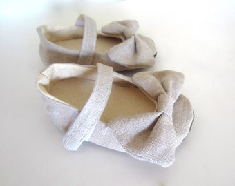 Natural Linen Baby Mary Janes