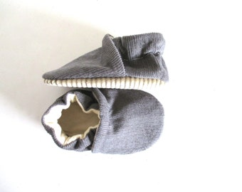 Grey Corduroy Baby Shoes