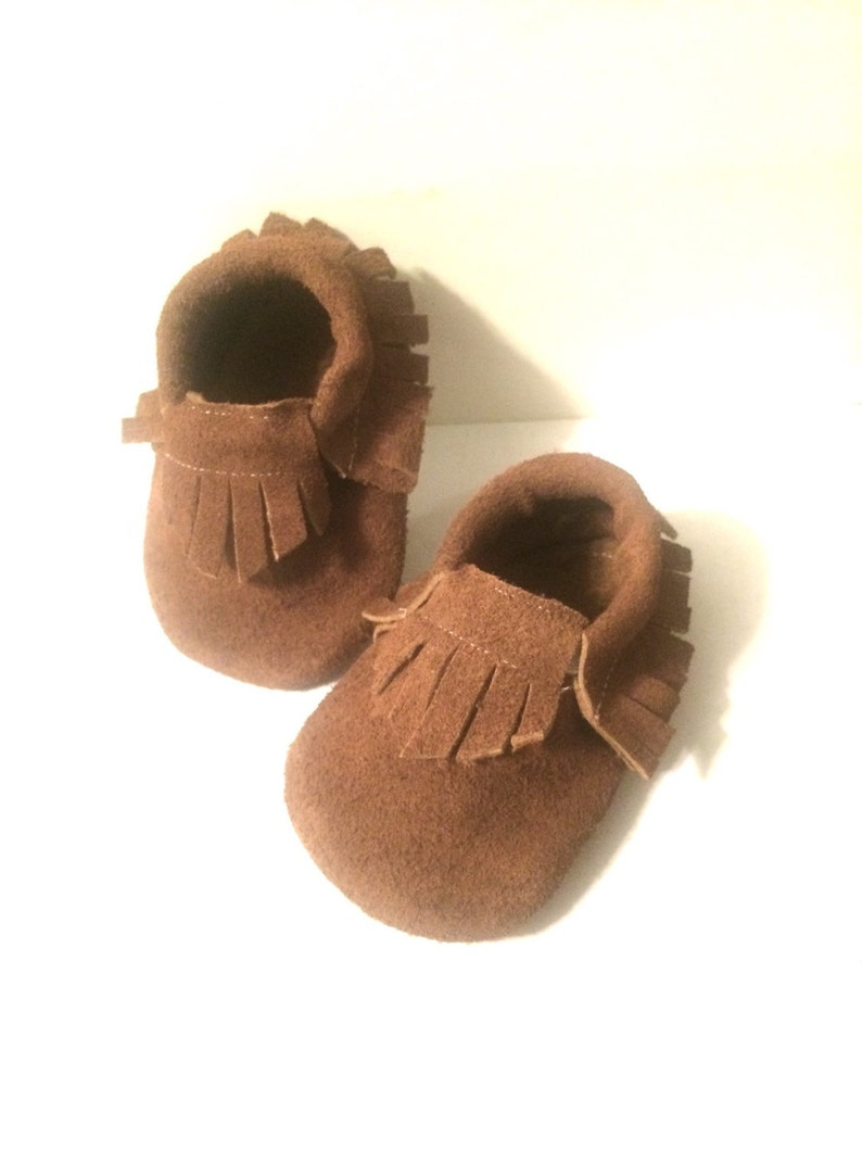 0bb3fa62334e3 Baby Moccasins in Leather Chocolate Brown Baby shoes