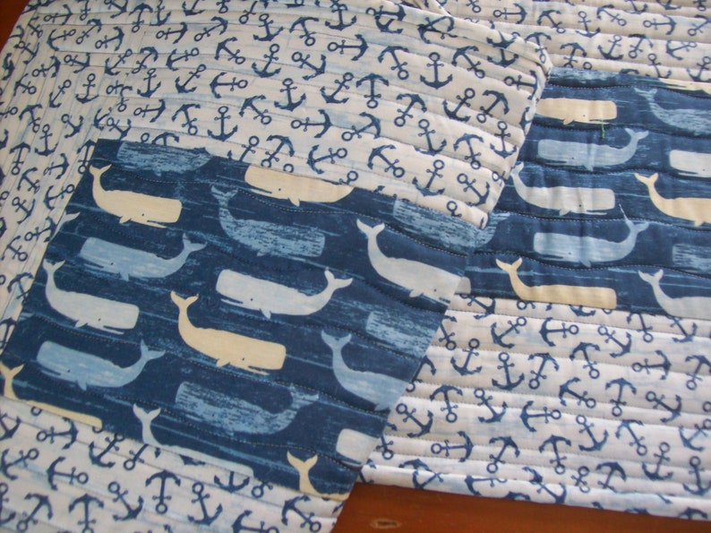 Whale /& Anchor Table Runner Quilted Cotton Table Runner