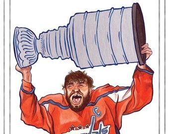 219d2bdd3 Washington Capitals NHL Hockey-Inspired Alex Ovechkin Championship Foil  Illustration Print Limited Edition 12x18