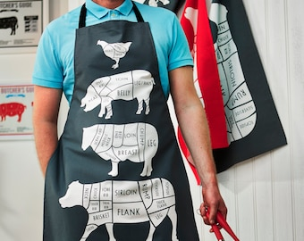 Butcher Meat Cuts Kitchen Apron - Foodie Gift - Chef Apron - Cuts of Meat Apron - BBQ apron - gift for him - chef gift - cook apron