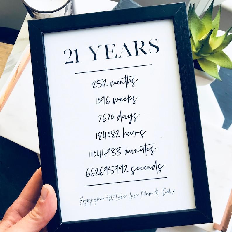 21 21 Geburtstagsgeschenk Geburtstag Meilenstein Etsy