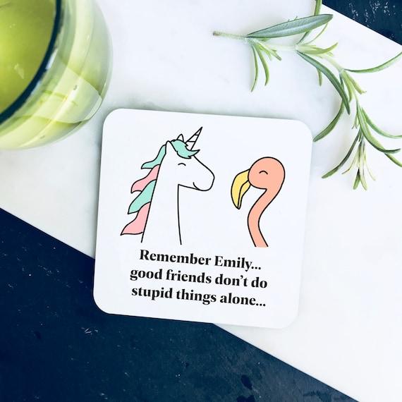 """/""""Vous êtes un Stupide/"""" gravé en bois Coaster-Drôle Anniversaire Cadeau Pour Ami"""