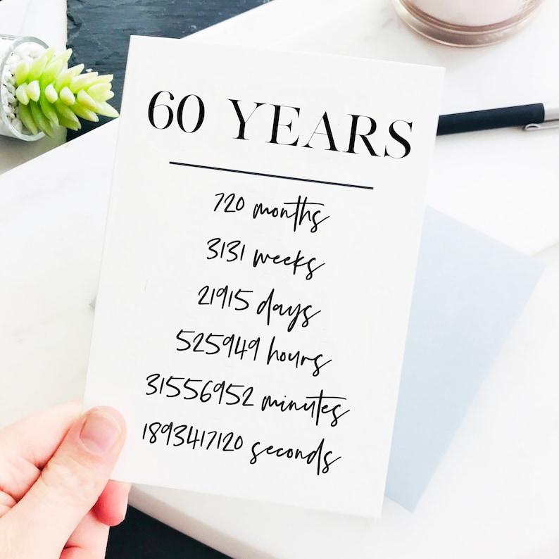 60th Birthday Card 60 Years