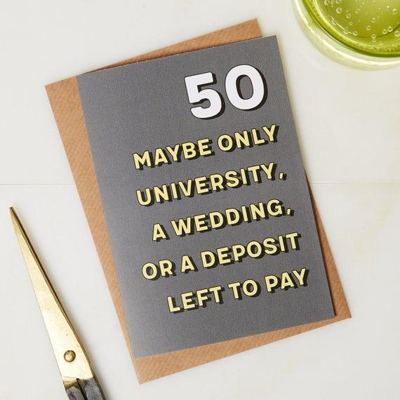 50th Birthday Card 50 Years