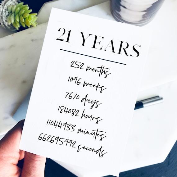 21st Birthday Card 21 Years