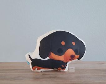 Dachshund Pillow (Black and Tan Doxie)