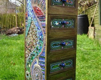 SOLD - Mosaic art, Mosaic Peacock Chest of Draws - SOLD