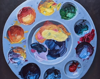 Large Photorealistic Artist's Palette -- 30 x 30 in. Original Painting of Palette and Paints