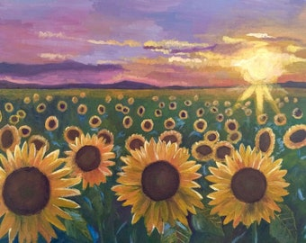 Sunset over a Field of Sunflowers -- Original Painting