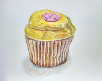 Georgetown Cupcake Drawing 8 x 8 in.