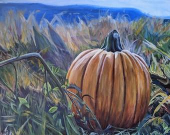 Pumpkin Patch Painting | Original Autumn Landscape Painting 14 x 18 in.
