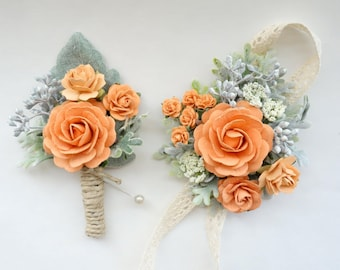 Peach Boutonniere and Corsage, Peach Wedding, Prom Corsage and Boutonniere Set, Rose Wrist Corsage, Rose Boutonniere, Peach and Sage Green