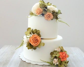 Wedding Cake Flowers, Peach Coral Wedding Cake, Cake Topper, Floral Cake Decoration, Cake Flowers, Flower Picks for Cake, DYI Cake Decor