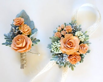 Soft Peach Boutonniere and Corsage, Peach Wedding, Prom Corsage and Boutonniere Set, Wrist Corsage, Rose Boutonniere, Apricot & Sage Green