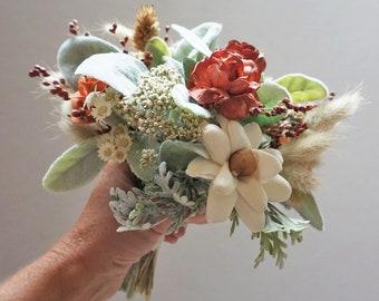 Small Fall Bouquet, Fall Flower Posie, Small Fall Centerpiece, Fall Bouquet, Vase Flowers, Sage Terracotta Rust Decor, Dried Flower Bouquet
