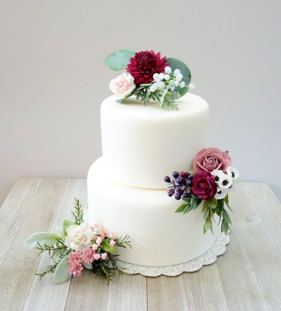 Wedding Cakes With Flowers: Wedding Cake Topper Summer Wedding Pink & Burgundy Cake