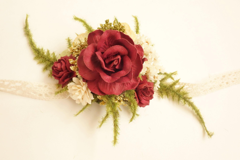 Wrist Corsage Prom Corsage Winter Wedding Burgundy Corsage | Etsy
