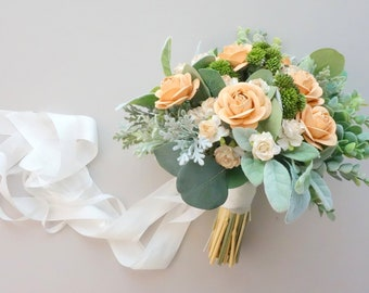 Peach Wedding Bouquet, Soft Peach Bridal Bouquet, Flower Bouquet, Peach & Sage Green Wedding, Silk Wedding Bouquet, Boho Wedding Flowers