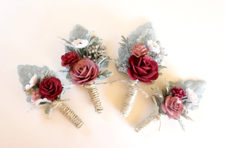 Mens Boutonniere Mauve Boutonniere Burgundy Wedding Rose | Etsy
