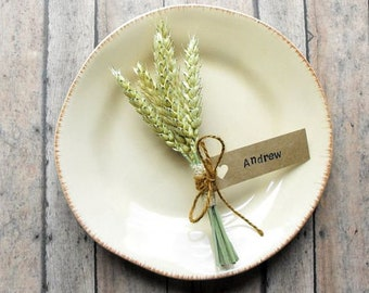 Fall Place Cards Set of 2, Thanksgiving Table Decor, Wheat Bundles, Wheat Place Cards, Rustic Place Cards, Wedding Place Cards, Gift Toppers