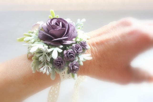 0aa21fe90e34 Eggplant Purple Boutonniere and Corsage