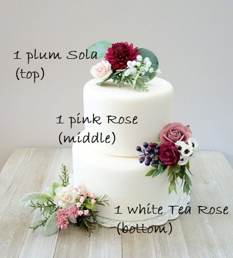Wedding Cake Topper Summer Pink Burgundy