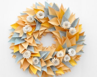 Spring Wreath, Paper Wreath, Modern Large Wreath, Everyday Wreath, Flower Wreath, Cottage Decor, Pastel Wreath, Sola Flowers, Modern Decor