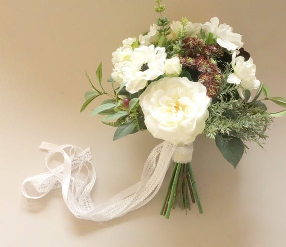 Green white wedding bouquet woodland bouquet natural etsy image 0 mightylinksfo