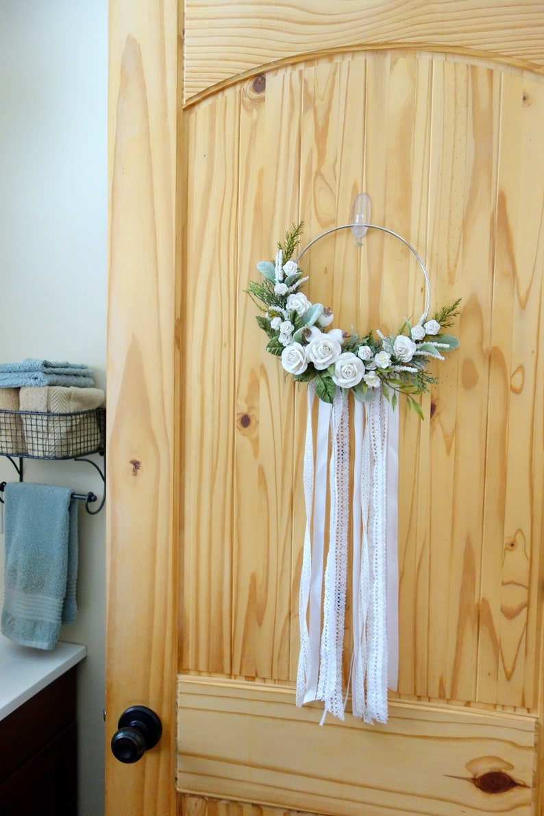 White Wedding Decor Floral Hoop Wreath Nursery Decor Mothers Day Gift Wedding Wreath Gift for Her Flower Girl Bouquet Natural Wreath