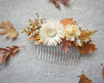 Fall Hair Comb, Dried Flower Hair Comb, Rustic Fall Hairpiece, Hair Comb with Fall Leaves, Boho Bridal Hair Accessory, Autumn Hair Comb