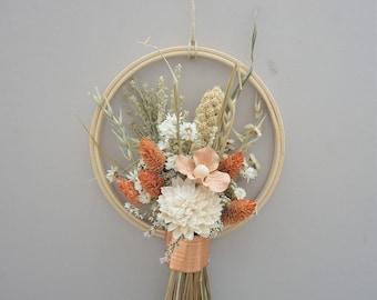 Fall Wreath, Wreath Alternative, Modern Wall Hanging, Dried Flower Wreath, Dried Flower Bundle Hanging, Autumn Wall Hanging, Small Hanging